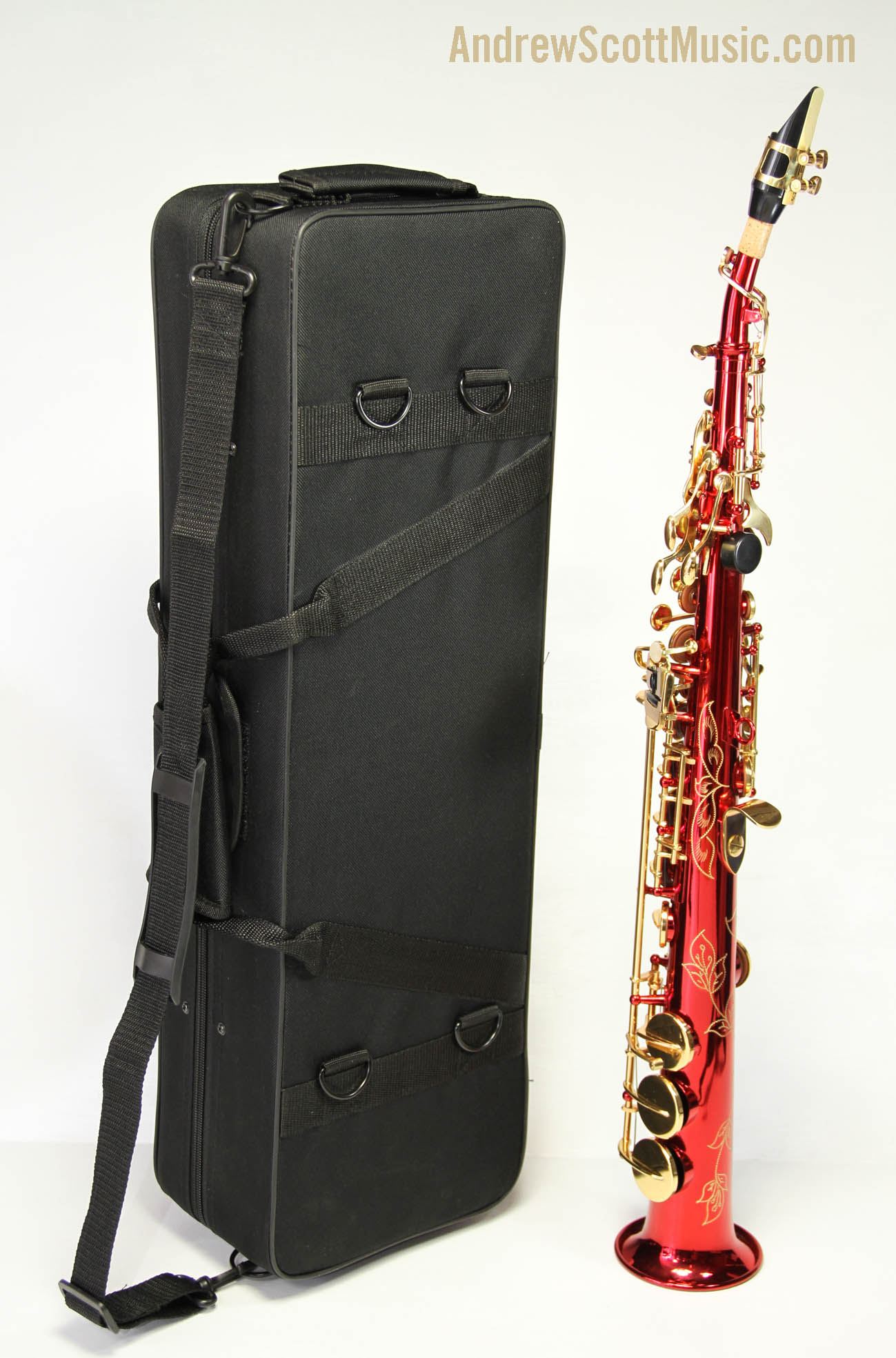 straight soprano saxophone in case red with gold colored keys masterpiece ebay. Black Bedroom Furniture Sets. Home Design Ideas