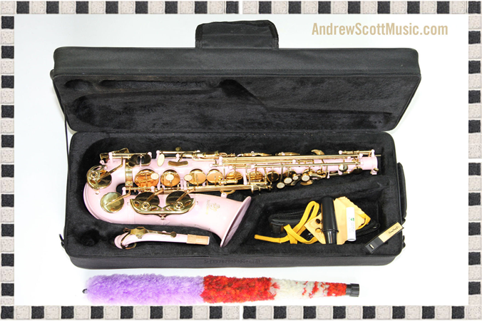 Pink and Gold Alto Saxophone in Case